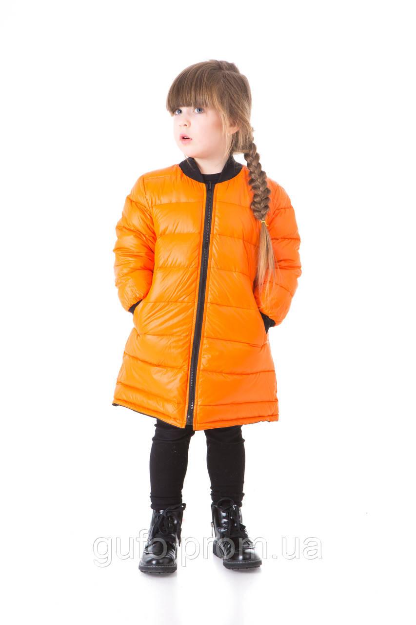 Детский пуховик двусторонний (оранжевый/черный) - Бутик брендовой одежды Gufo в Киеве