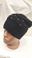 Женская шапка из ангоры Камешки черная