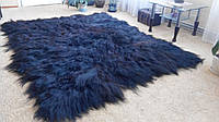 Ковер из шкурок исландской овчины Черный (длинношерстый)