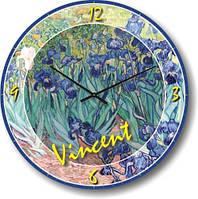 Часы настенные из стекла - картина винсента(немецкий механизм)
