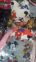 Детские демисезонные шапочки Микки с ушками на флисе от 0 до 1 года S210