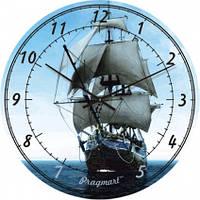 Часы настенные из стекла - фрегат(немецкий механизм)