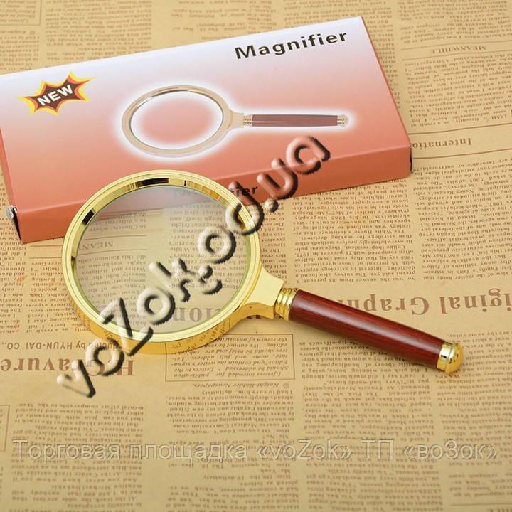 Лупа стеклянная Magnifier 5X d-70 мм в металлической оправе, фото 1