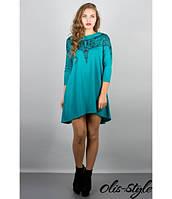 Трикотажное   бирюзовое  платье Мэри-эль    Olis-Style 44-52 размеры