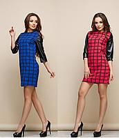 Женское платье в клетку +кожа рукав синий, 44