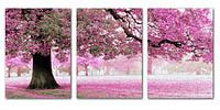 """Набор для вышивания крестом модульная картина """"Розовое дерево счастья"""" 3 шт 111 см"""