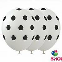 Воздушный шар в горошек 30 см белый