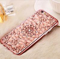 """Розово-золотистый силиконовый чехол Кристалл с камушками Swarovski для Iphone 7 (4.7"""")"""