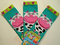 Хлопковые носки c 3D зеленого цвета с коровой детские