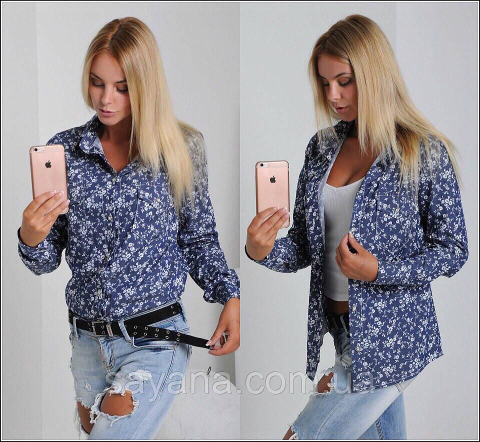 Женская джинсовая рубашка с разным принтом. Ч-2-0217