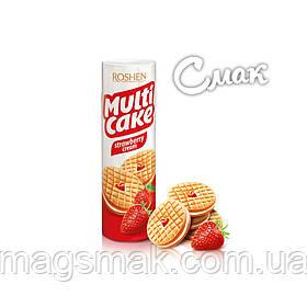 Печенье - сендвич Roshen Multicake c начинкой клубника-крем, 195 г