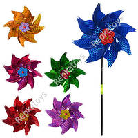 Ветрячок цветок фольга, диаметр 24 см, палочка 38.5 см (ОПТОМ) M 0799