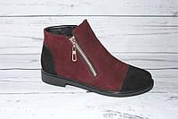 Ботинки женские демисезонные, цвет бордо