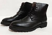 Мужские ботинки Oxford, цвет - черный, материал - кожа