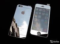 Защитное зеркальное стекло серебро для iPhone 5,5S - 0.3mm