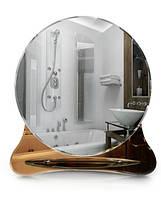 Круглое зеркало для ванной с полочкой, размер 70х64 см, фото 1