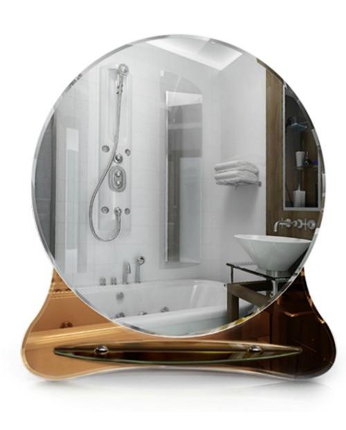 Круглое зеркало для ванной с полочкой, размер 70х64 см