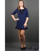 Короткое женское синее платье  Кураж      Olis-Style 46-50 размеры