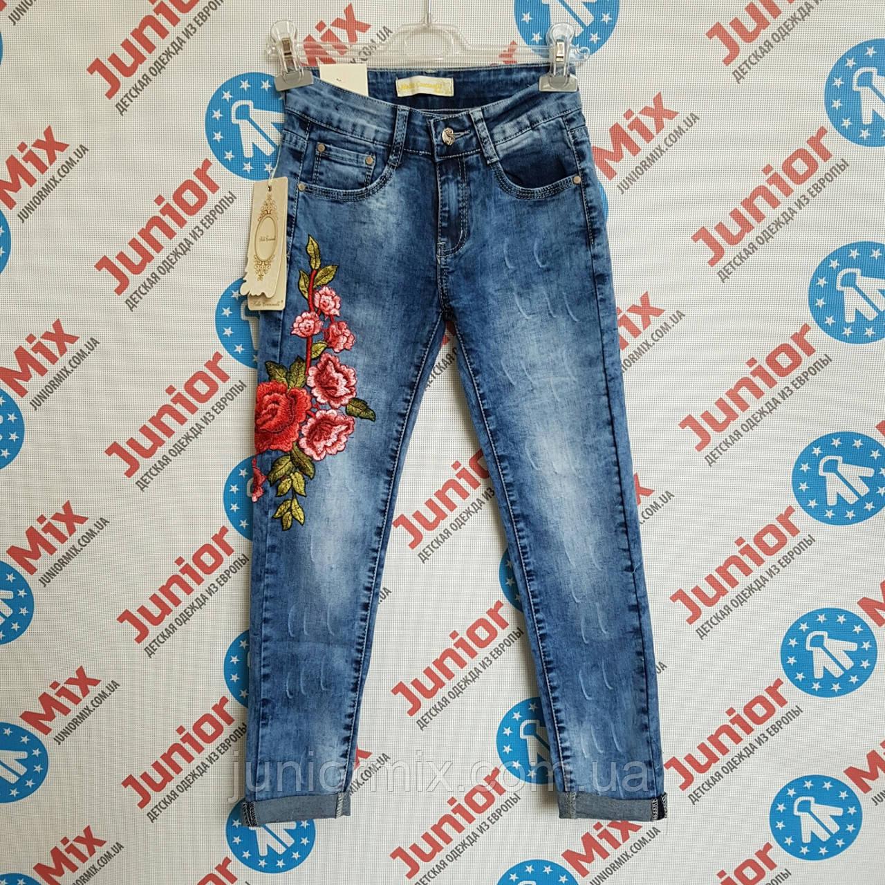 Модные джинсы с вышивкой на девочку