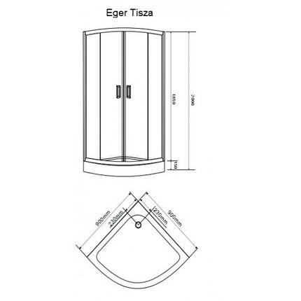 "TISZA душевая кабина угловая 80*80*200,  на мелком поддоне 15 см, профиль белый,  стекло ""Zuzmara"" 4 мм, фото 2"