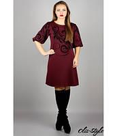 Трикотажное женское бордовое  платье  Каролина    Olis-Style 44-52 размеры