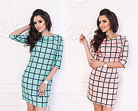 Женское стильное прямое платье клетка