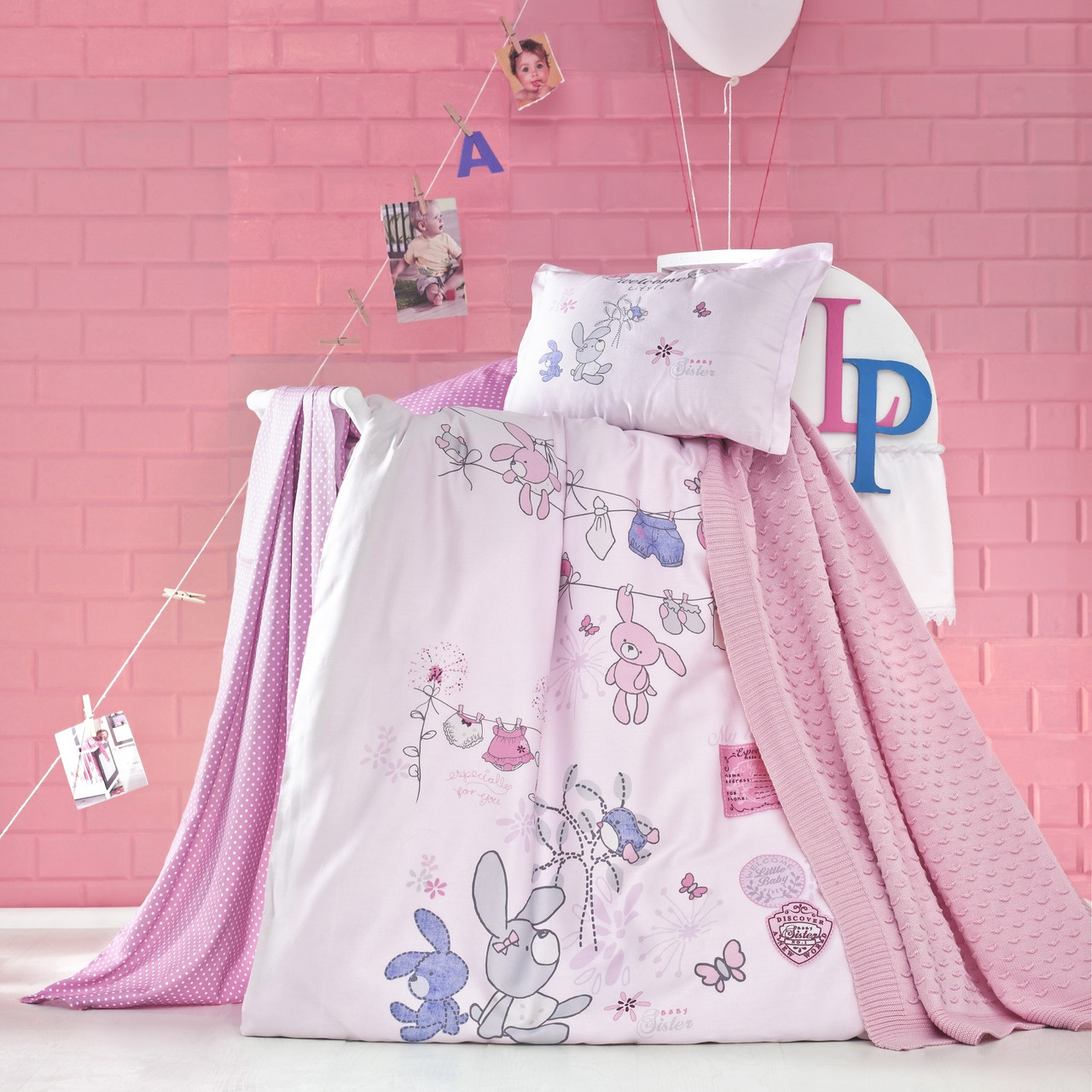 Комплект детского постельного белья с пледом Little, Luoca Patisca