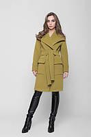 Модное Кашемировое  Пальто Прямого Силуэта На ЗапАх с Поясом Хаки