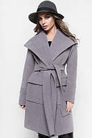 Модное Кашемировое  Пальто Прямого Силуэта На ЗапАх с Поясом Серый