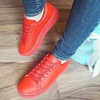 Женские кожаные кеды криперы красные код 187 39 размер