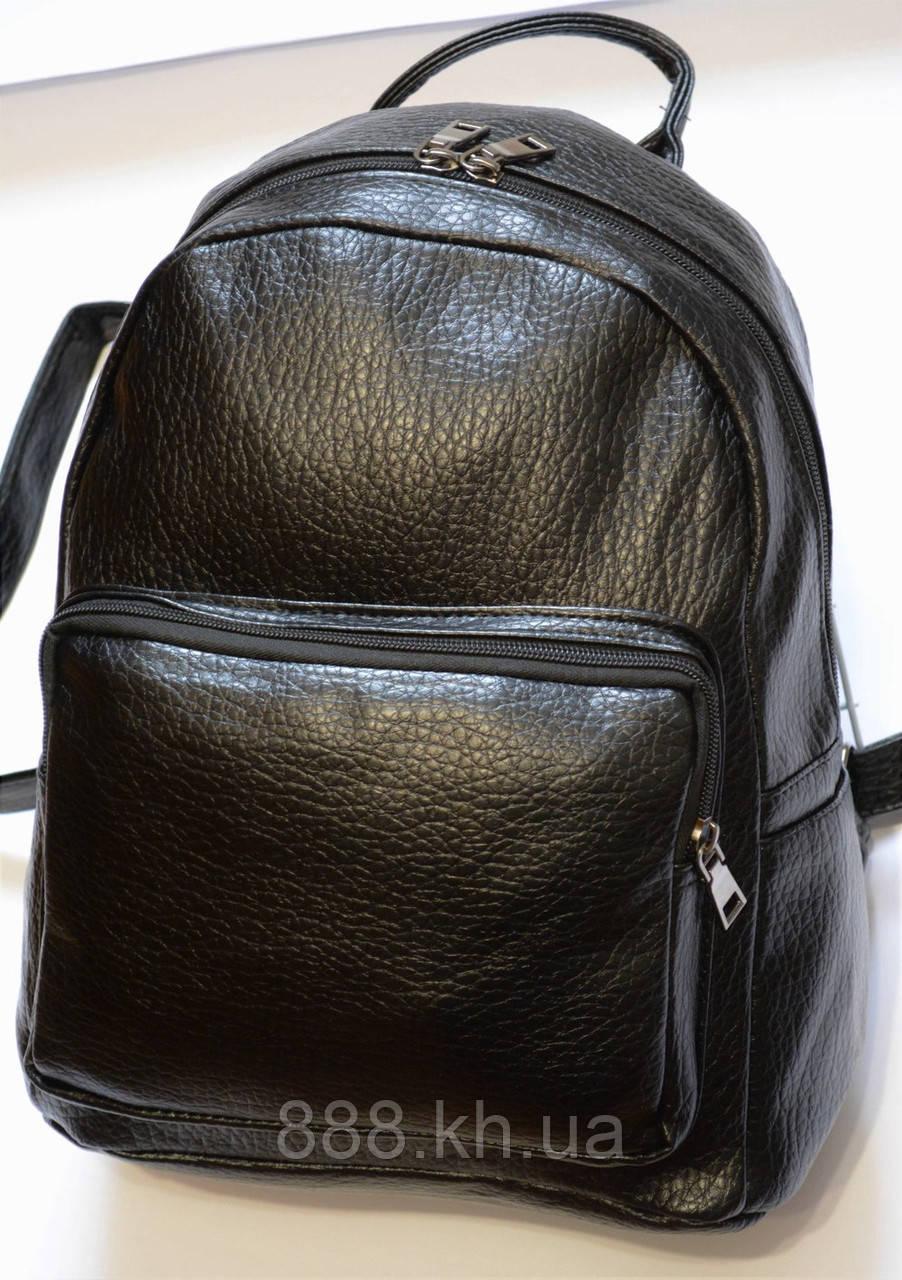 Женский кожаный рюкзак черный RS