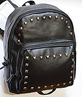Женский кожаный мини рюкзак черный RS, фото 1