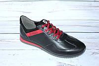 Мужские кожаные кроссовки черного цвета А17