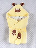 """Весенний конверт ― одеяло  на выписку """"Панда/лапки"""" (желтый)"""