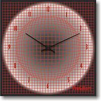 Часы настенные из стекла - красный шар 3D (немецкий механизм)