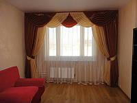 Комплект Ламбрикен и шторы из шторной однотонной ткани на 3 м карниз Флоренса 3 м монорей