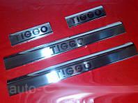 Chery Tiggo 2005-2013 гг. Накладки на пороги Carmos (4 шт, нерж)
