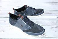 Мужские кроссовки кожаные синего цвета А88