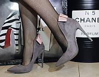 Замшевые туфли лодочки серого цвета с бантом на пяточке