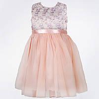 Д-101777 Вечернее платье для девочки в нежных оттенках персикового, голубого и розового цветов