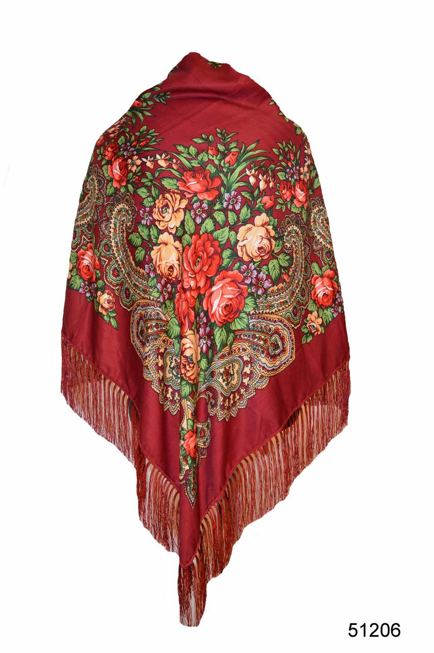 Платок с народным орнаментом бордовый 140*140 с бахромой