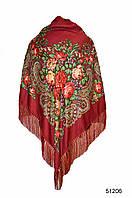 Купить платок с народным орнаментом бордовый 140*140