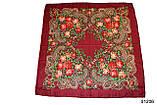 Платок с народным орнаментом бордовый 140*140 с бахромой, фото 2