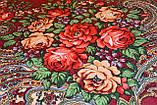 Платок с народным орнаментом бордовый 140*140 с бахромой, фото 3