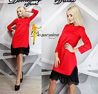 Платье с французским гипюром реснички красное 12245