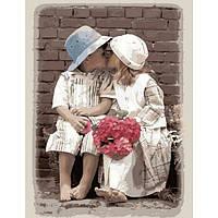 """Акриловий живопис за номерами """"Перший поцілунок"""" полотно 40*50 см без коробки ТМ Ідейка"""