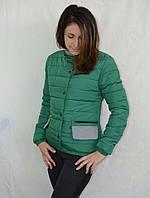 Качественная женская синтепоновая куртка зеленого цвета с воротником стойка