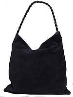 Женская  сумка из натуральной кожи фабричная (отшита  в Италии) синего цвета, замшевая