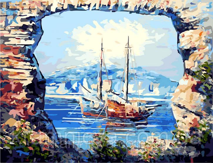 "Картина по номерам. Турция, Кемер. ""Яхты на рейде"", 40х50см, G298"