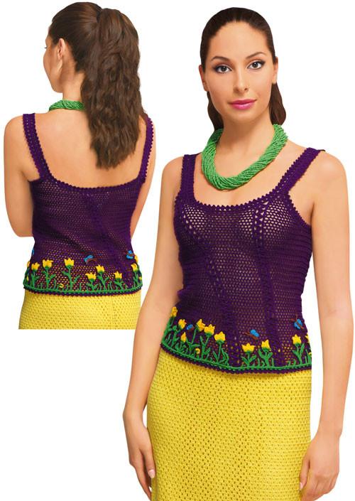 Топ фиолетовый с надвязками и мережкой